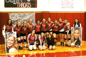 Senior recognition at volleyball game last Friday
